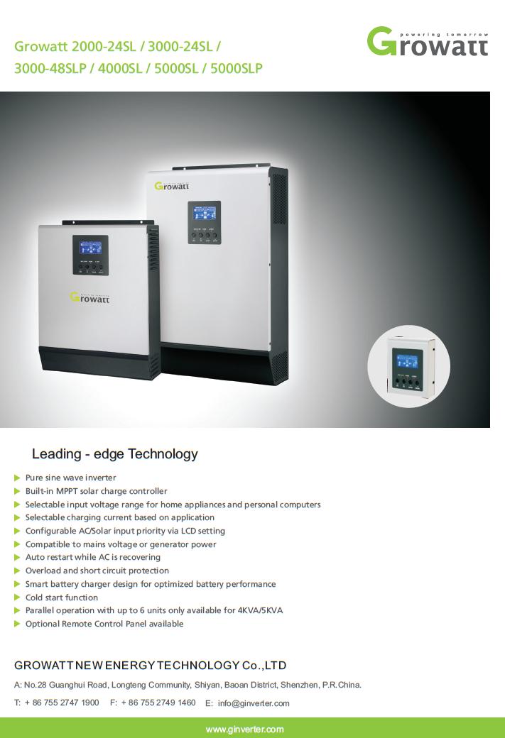 solarcellcenter.com/img/cms/Grid Tie Inverter/growatt/Growatt 5000SL Datasheet