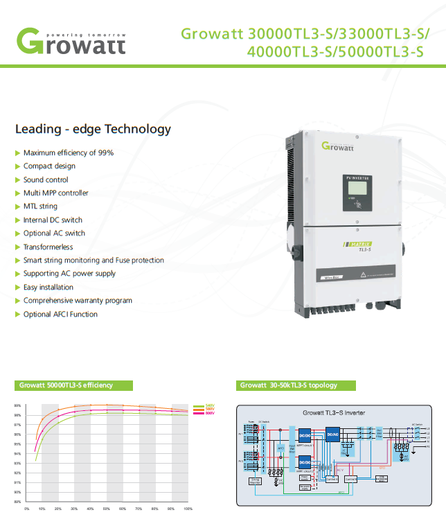 Grid Tie Inverter/growatt 40000tl3 datasheet by solarcellcenter.com ราคาถูก