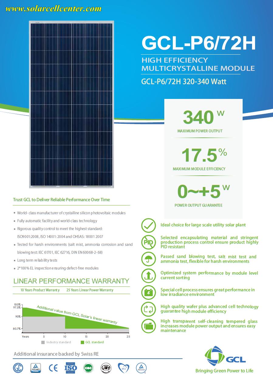 solar module/GCL Solar Panel/GCL_p6_72h_320_340W solar panel datasheet